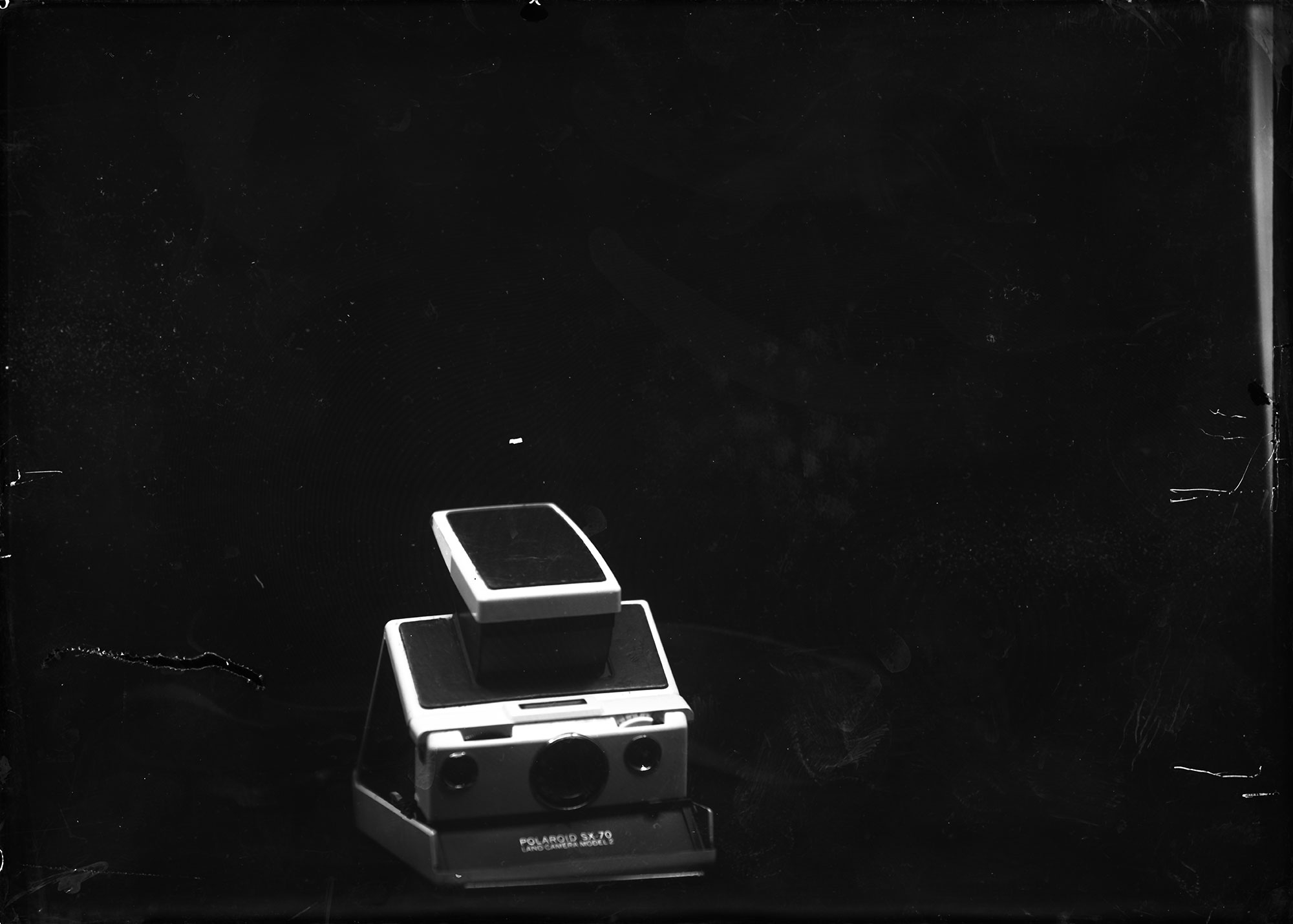 dry plate shot of a Polaroid SX-70 camera