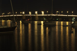The Bridge of Lions, St. Augustine, Florida, lit up for the Nights of Lights