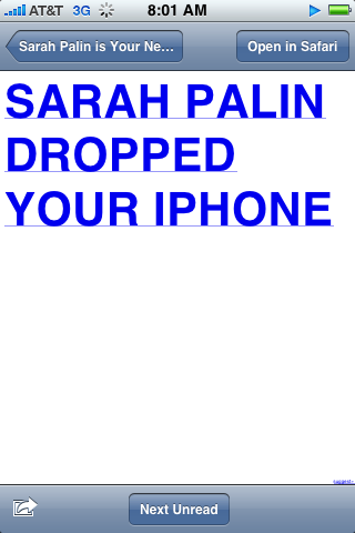 Sarah Palin dropped your new iPhone